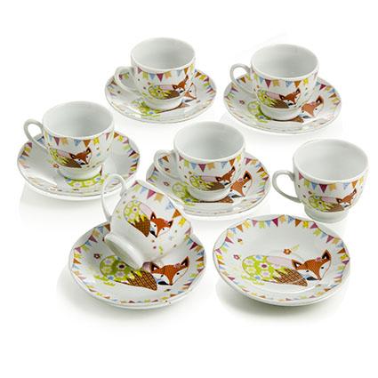 Set 6 tazzine caffe con piattino volpe montemaggi borzik for Tazzine caffe moderne
