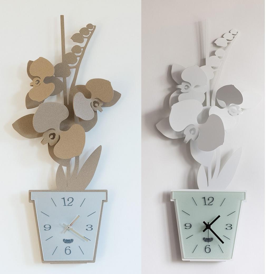 Orologio orchidea arti e mestieri borzik for Orologi da parete adesivi
