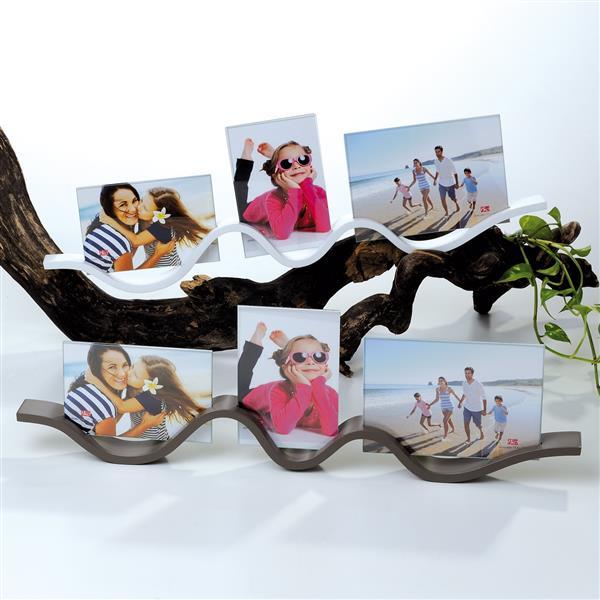 Portafoto multiplo x 3 da tavolo o parete onda maiuguali for Portafoto multiplo da tavolo